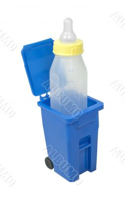 Recycling Bin and Baby Bottle