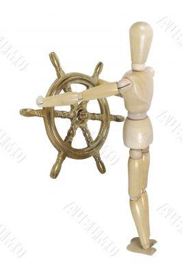 Model with Weathered Nautical Steering Wheel