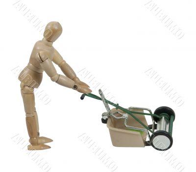 Pushing a Lawn Mower