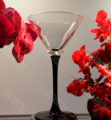 orchid and a glass