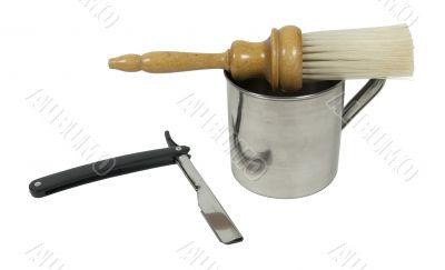 Straight Razor with Mug and Brush