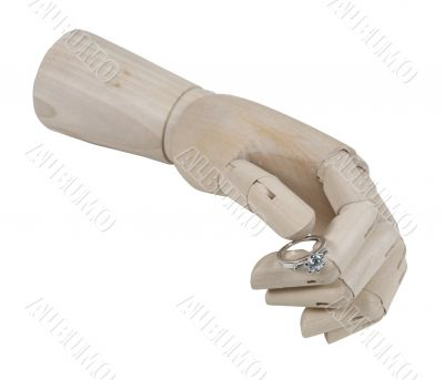 Wooden Hand Offering Engagement Ring