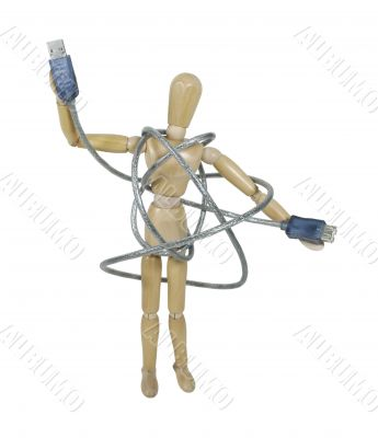 Model Tangled in a USB cable