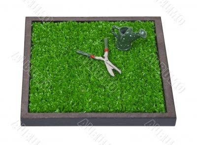 Watering Can and Clippers on the Grass
