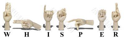 Whisper Spelled in Sign Language - Letter