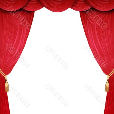 open stage with a white background