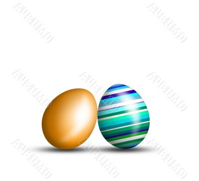Beautiful Easter eggs on a white background