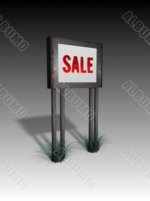 old sign board with sale text