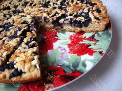 Fresh and tasty pie with bilberry