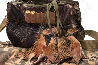Fowling bag and bird.