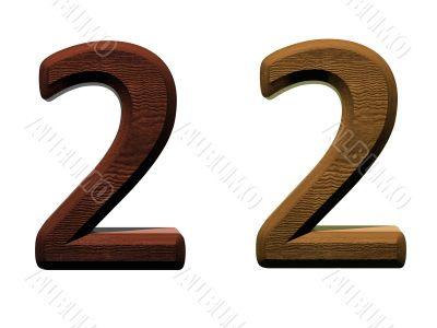3d wooden numbers on white background.