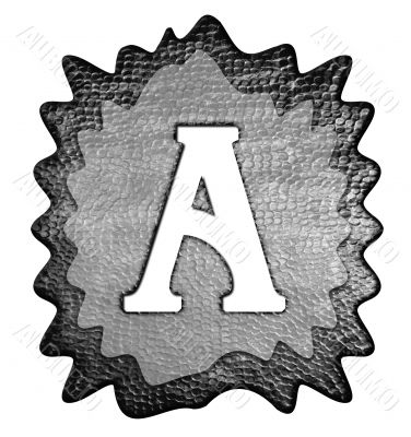 3d Letter a in metal, on a white isolated background.