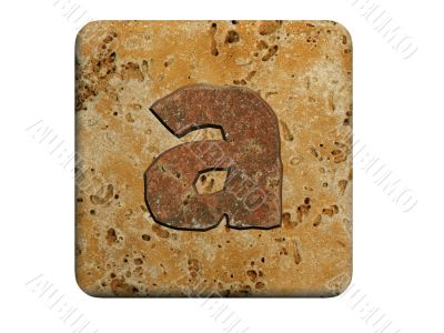 3d Letter a in stone, on a white isolated background.