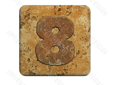 3d stone eight number , on a white isolated background.