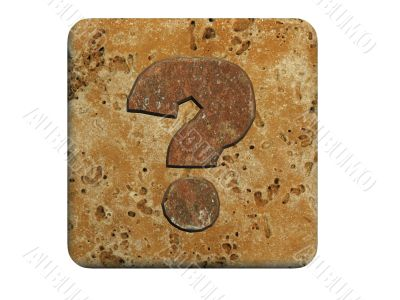 3d stone question marks, on a white isolated background.