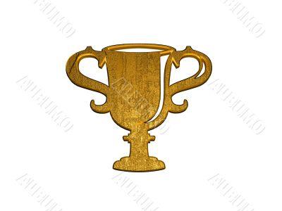 3d golden winner cup sign
