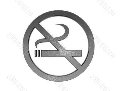 3d metal no smoking sign