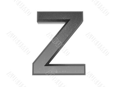 3d alphabet a in metal, on a white isolated background.