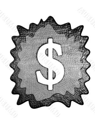 3d metal dollar mark