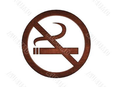 3d wooden no smoking sign