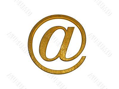 golden 3d at email symbol