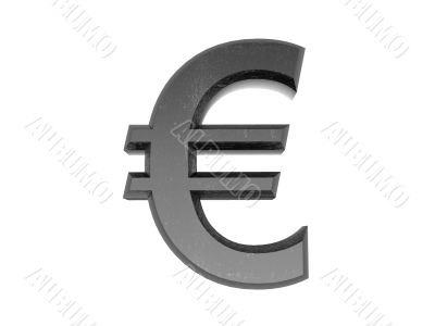 3d Symbol euro in metal on a white isolated background.