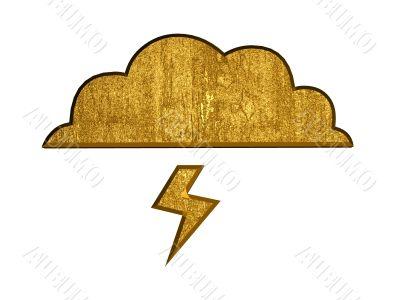 3d golden cloud and lightning symbol