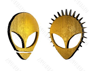 3d golden alien symbol