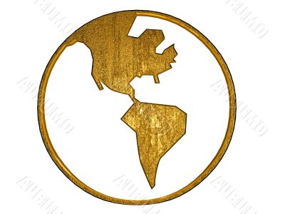 3D gold globe symbol, america
