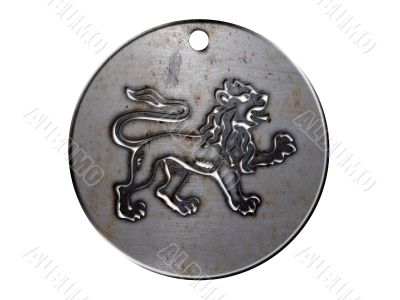 3d monster mythology, in metal medallion on a white isolated background.