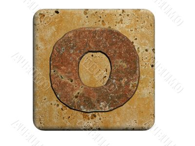 3d Letter a in stone, on a white isolated background. UPPERCASE