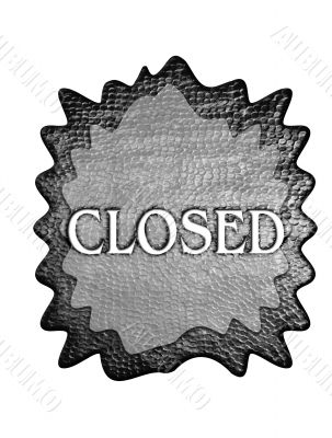 3d metal closed sign