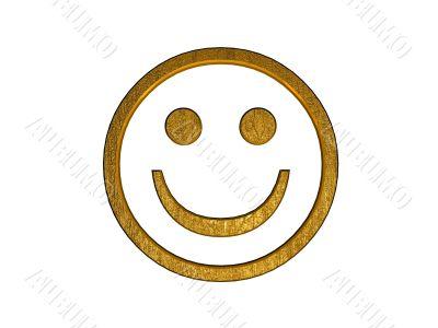 3d golden smile symbol