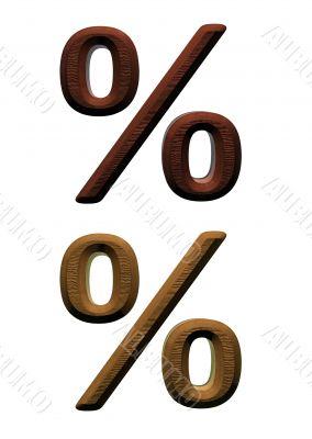 3d wooden percent