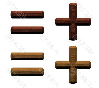 3d wooden hyphen, minus, plus marks