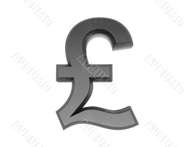3d Symbol  pound in metal on a white isolated background.