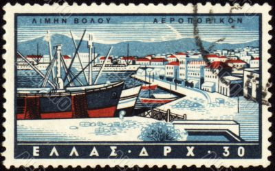 Volos harbor in Greece on post stamp