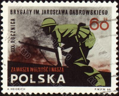 Soldiers in the attack on post stamp