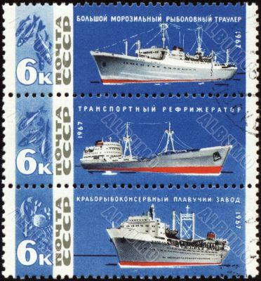 Vessels fishing fleet on post stamp