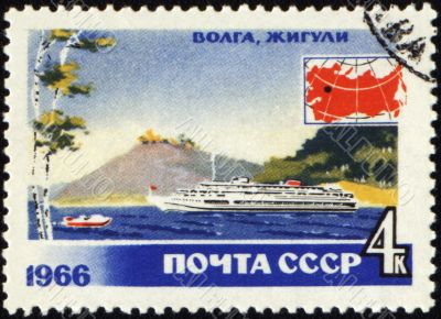 Passenger ship at Volga river on post stamp