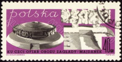 German nazi concentration camp Majdanek on post stamp