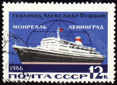 Passenger ship `Alexander Pushkin` on the line to Leningrad, Montreal on post stamp