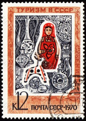 Russian souvenirs on post stamp