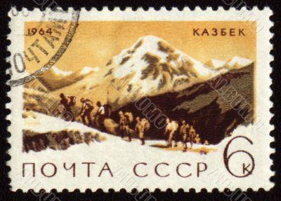 View on mountain Kazbek on post stamp