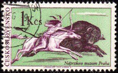 Injun buffalo hunting on post stamp