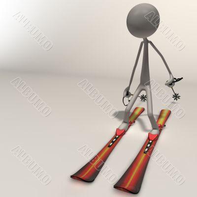 stickman - skiing