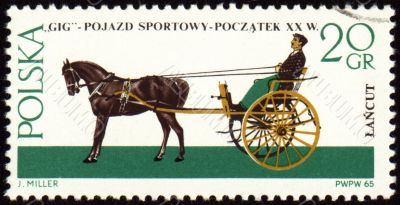 Gig - old carriage on post stamp