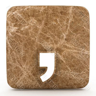 Marble comma on a white isolated background.