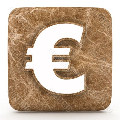 Marble euro mark on a white isolated background.