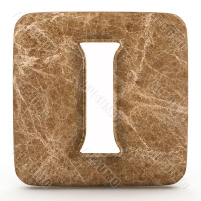 Marble roman numeral, on a white isolated background.